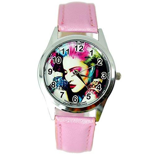 taport® Madonna Bergkristall rund Armbanduhr Pink Echt Leder Band Farbe Zifferblatt + Gratis Ersatz Batterie + Gratis Geschenkverpackung