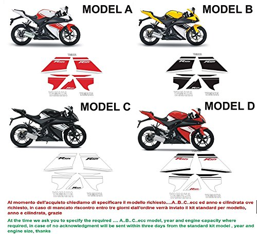 Emanuel & Co Kit adesivi Decal stikers Yamaha YZF r125 2008 (Geben Sie Model A oder B oder C oder D)