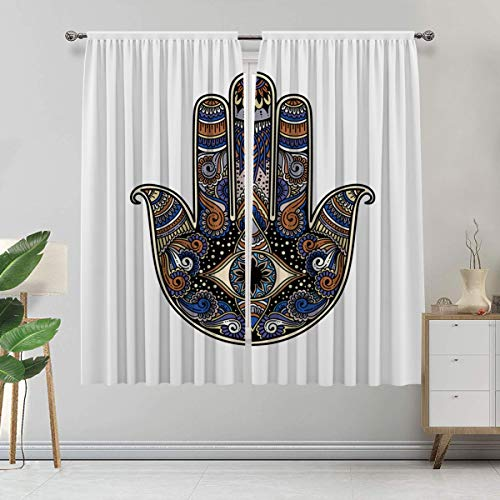Alandana Hamsa Curtains, Vintage Icon with Paisley Inspired Details Flowers Evil Eye Hand Drawn Design Window Treatments for Bedroom 2 Panels Set, Each Panel 60' Wx 84' L Multicolor