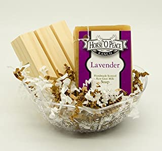 Handmade Herbal 100% Raw Goat Milk Lavender Soap (Gift Set 1) w/Handcrafted wooden pine soap saver dish.