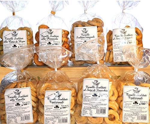 Taralli Pugliesi | Backprodukt ideal für Snacks | Die Box enthält Taralliöl, Fenchelsamen, taralli mit chilli Pfeffer, Rübenspitzen, Pizza | Handgefertigtes Produkt