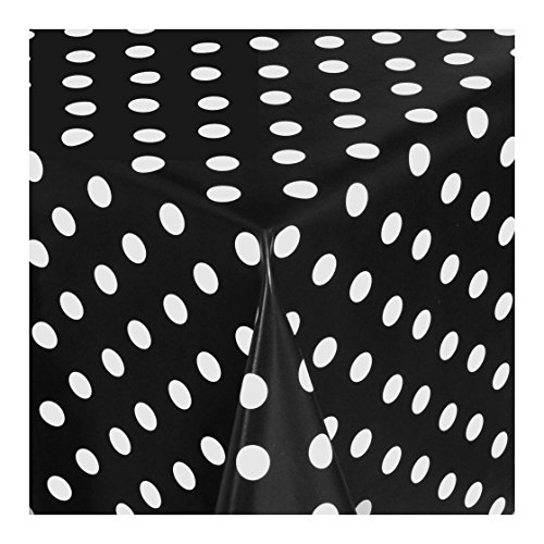 WACHSTUCH Tischdecken Wachstischdecke Gartentischdecke, Abwaschbar Meterware, Länge wählbar, Punkte Schwarz Weiß (150-03) 50cm x 140cm