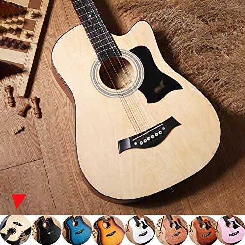 Folk pop gitaar Akoestische gitaar Planken beginnersniveau Cutaway Dreadnought volle toon muziekinstrument met waterdichte behuizing, riem, tuner en Pick, 8 kleuren student gitaar (Color : A)