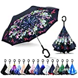 ZOMAKE Inverted Umbrella, Double Layer Reverse Umbrella Large Inside Out Umbrella with UV Protection, Windproof Upside Down Umbrellas for Women with C-Shaped Handle