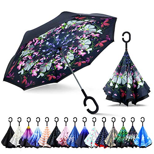 ZOMAKE Inverted Umbrella, Double Layer Reverse Umbrella Large Upside Down Umbrella with UV Protection, Windproof Inside Out Umbrella for Women with C-Shaped Handle