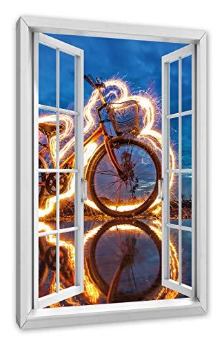 Pixxprint Burning Bike brandende fiets, raam canvasfoto | muurschildering | kunstdruk hedendaags 100x70 cm
