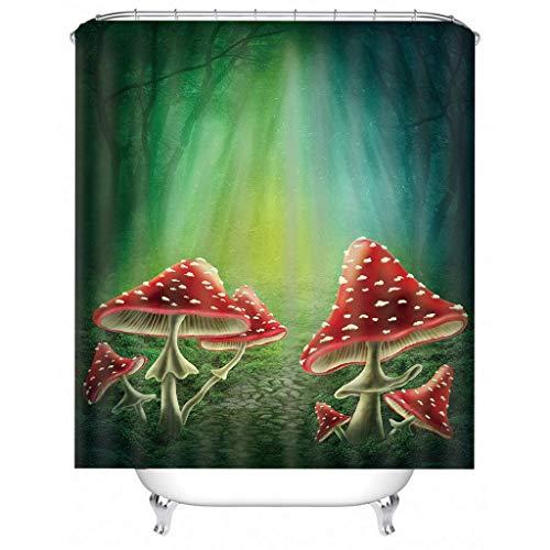 IJNOKM 3d Life Forest Mushroom Shower Curtain,machine Washable Bath Curtain With Hooks,anti-mildew Water-repellent Strip Bathroom Curtains(W) 150×(H) 180CM