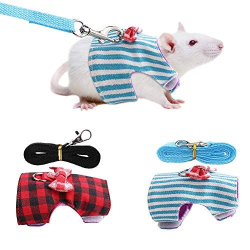 HEEPDD Kleintiere Geschirr und Leine Set Hamster Spazierengehen Training Zugseil Brustgurt für Kaninchen Eichhörnchen Bunny Ferret Meerschweinchen Rot Gitter + Blau Stripes 2 Stück(XS)