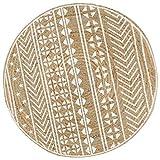 Tidyard Alfombra Yute Redonda Alfombra de Yute Exterior Alfombra de Yute Tejida a Mano Lunares 120 cm Natural y Estampado Blanco