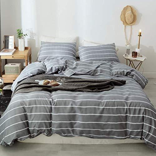 Lanqinglv Grau Bettwäsche 135x200 Reißverschluss Weiß Gestreift Bettwäsche 2teilig Weiss Streifen Bettbezug Deckenbezug Bügelfreie mit Kissenbezüge 80x80 (WS,135x200)