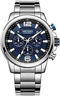 Megir MS2156G-BK-1 Analog Stainless Steel Watch for Men Silve Blue