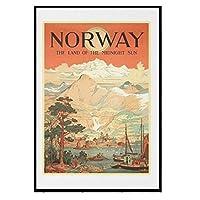 ノルウェー、真夜中の国-ヴィンテージ旅行ポスターキャンバスは、寝室の家の装飾のためのキャンバスの壁の芸術に写真を印刷します50X75cmフレームなし