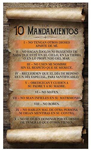 Luciano's Cuadro Cristiano Biblico de Madera - Diez Mandamientos