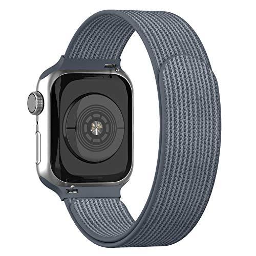 Adepoy für Apple Watch Armband,Velcro Klettverschluss Gewebt Nylon Sport Ersatzarmband für iWatch 44mm 38mm 42mm 40mm Apple Watch 5 4 3 2 1(Grau,38/40mm)