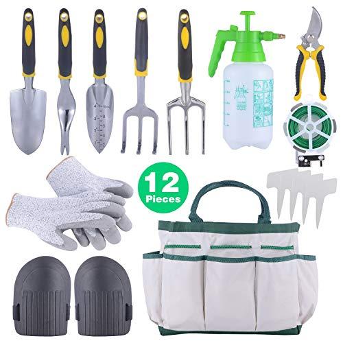 Sonyabecca 12pcs Garden Tools Set Gardening Gift Kit Ergonomic Gardening Tools with Garden Tote 6...