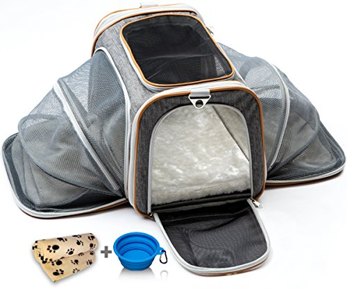 PETYELLA Luxury Pet Carrier + Fleece Blanket & Bowl - Airline Approved Innovative Design