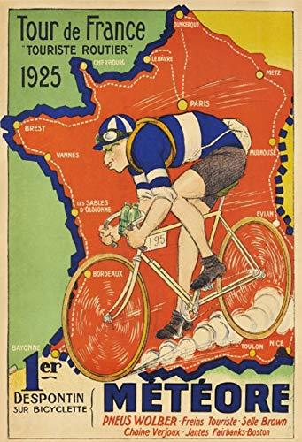 Schatzmix Kaart Tour de France 1925 Frankrijk metalen bord Wanddecoratie 20x30 tin Sign blikken bord, meerkleurig