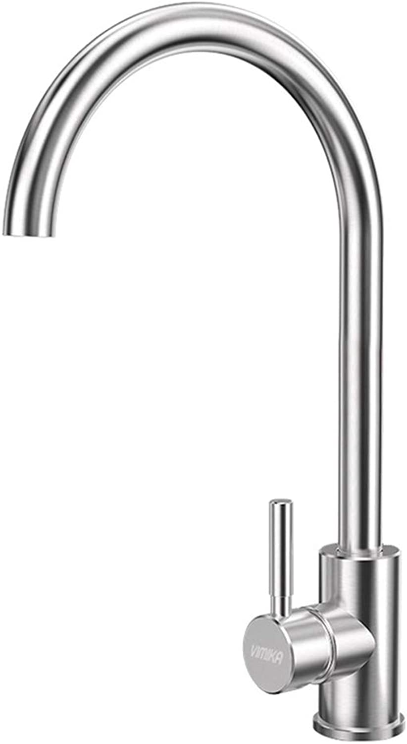 Kitchen Sink Basin Mixer Tap, 360 Degree redation Single Holder Kitchen Sink Tap for Kitchen Bathroom, for Hot and Cold Water, Chrome 304 Stainless Steel