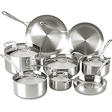 Lagostina Q555SD Axia Tri-Ply Stainless Steel Dishwasher Safe Oven Safe Cookware Set, 13-Piece, Silver