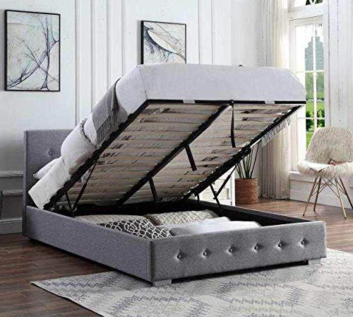 Home Treats Upholstered Bed | Lift Up Bed Frame (Double 4ft 6, No Mattress)
