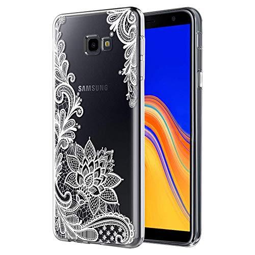 ZhuoFan Samsung Galaxy J4 Plus Hülle, Schutzhülle Silikon Transparent mit Muster Motiv Handyhülle Ultra Dünn Weich TPU Bumper Case Backcover für Samsung Galaxy J4 Plus, Weiße Blume