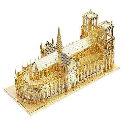piececool Modelo de arquitectura 3D cortado con láser para adultos, modelo de arquitectura tradicional de 114 piezas, color dorado