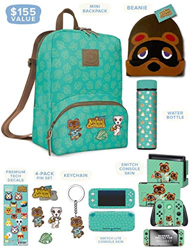 Controller Gear Official Nintendo Animal Crossing: New Horizons Merch - Mini Backpack  Switch + Switch Lite Skins  Screen Protector  Stainless Steel Water Bottle  Beanie - Nintendo Switch