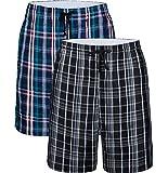 JINSHI Homme Pantalon Court Coton Bas de Pyjamas à Carreaux Vêtement d'Intérieur Nuit Ete Sommeil Shorts Paquet de 2 Taille 2XL,Multicolore