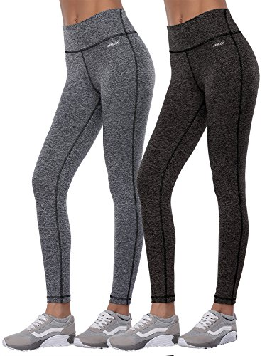 Aenlley Women's Activewear Yoga Pants High Rise Workout Gym Spanx Tights Leggings Color BlackGrey+Darkgrey Size L
