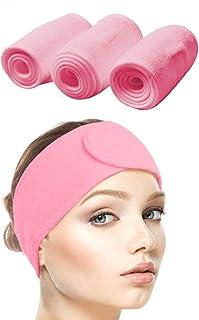 Queta pelo banda para maquillaje, cosméticos cinta Rizo, ajustable pelo – Banda con velcro 3pcs (Rosado)