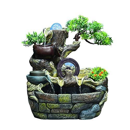 Fontaine d'eau en résine en Cascade, Petite Cascade de Relaxation avec Boule LED sur Le Dessus pour la Chambre du Salon de Jardin