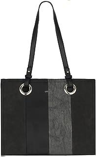 David Jones - Bolso de Hombro Asas Largas Mujer - Shopper Tote Bag Rayas Multicolor Cuero Piel PU - Bolso de Mano Bandoler...