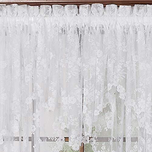 Petite Fleur Lace Ascot Valance 56 wide by 20 long in Ivory