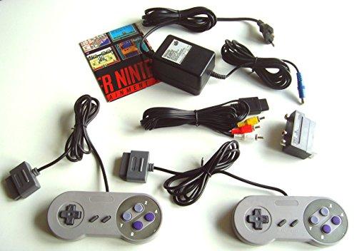 komplettes SNES remake Zubehör Set: 1 Original Nintendo Netzteil 2 Controller Cinch AV TV Kabel + Scart Adapter für SNES Super Nintendo Konsole