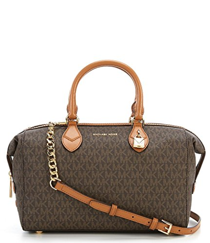 """approx. 12.75"""" x 8.0"""" x 6.25"""" 4.25"""" handle drop; 19.75"""" strap drop gold-tone hardware zip closure one zip pocket and two slip pockets inside single strap; double handle"""