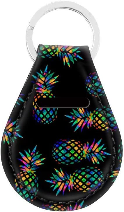 NDISTIN Personalized Color Pineapple Black Background Punk Style Car Keychain Key Chain Lightweight Bag Tag Multifunctional Driver Car Key Ring Outfits Family Present Universal Suit for Men Women
