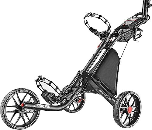 Chariot de golf EZ-Fold de CaddyTek - 3roues - Gris foncé - Avec sac de rangement, gris foncé
