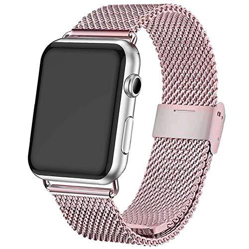 INZAKI Compatible Cinturino per Apple Watch Cinturino 42mm/44mm, Cinturino Orologio Bracciale in Acciaio Inossidabile Cinghia Banda Bracciale per iWatch Series 5/4/3/2/1,Rosa