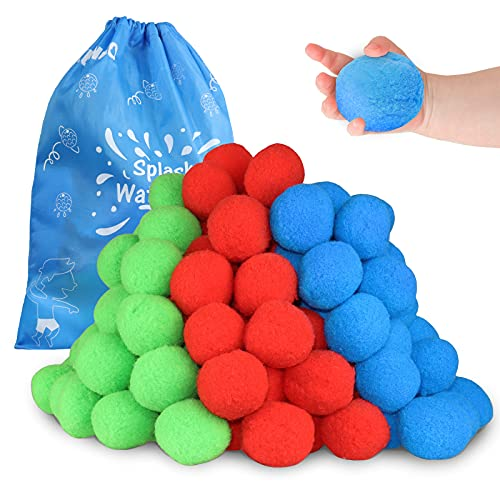 KUANGO 60 Cotton Water Balls Toys for Teens and Adults, Reusable Splash Water Balls Trampoline Toys Accessories with Bag, Pool and Beach Fun Party Water Balloons Perfect for Outdoor Activity