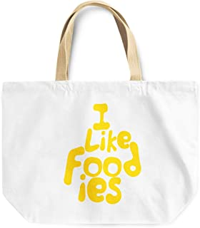 Loud Universe I Like Foodies Funny Friends Reusable Food Lovers Tote Bag, 30 x 30 x 10 cm, Multicolor
