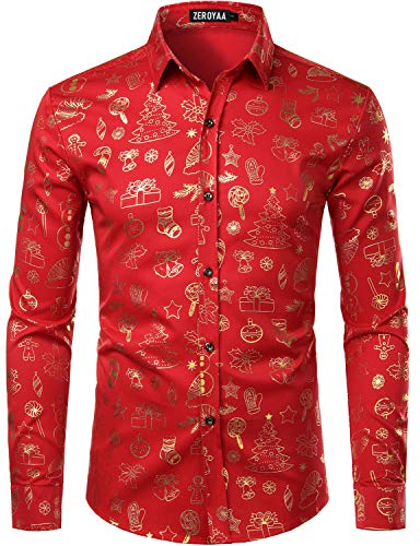 ZEROYAA Men's Hipster Party Dress Shirt Christmas Gold Design Slim Fit Long Sleeve Shirts ZZCL57 Red Medium