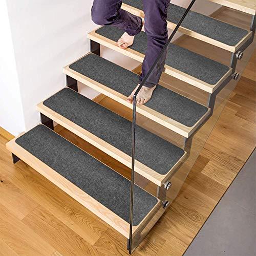 HOUSE DAY rutschfeste Teppich-Treppenstufen, 14er-Set, Rutschfester Teppichläufer für Griffigkeit und Schönheit. Sicherheitsrutschfest für Kinder, Älteste und Hunde, vorapplizierter Klebstoff (grau)