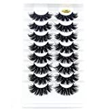 SKONHED 8 Pairs 25MM Lashes 4D Mink False Eyelashes Multilayered Effect Long Natural Full Volume Thick Wispies Fluffy Eye Lash Extension(4DL029)