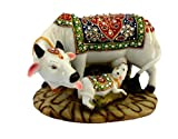 KC PRODUCTS Handicraft Decorative Marble dust/Polyresin Cow and Calf Big Statue/Idol, 6-inch(Multicolour)