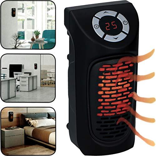 Digitaler Steckdosen Heizlüfter mit 350-W-Keramik-Heizelement für Zuhause und Unterwegs mit Abschaltautomatik + Timer