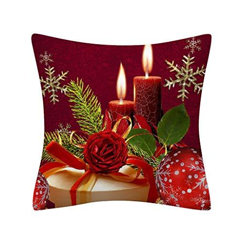 Zegeey Kissenbezug Weihnachten Weihnachtsschmuck Snowman Nikolaus Christmas Tree Rot Weihnachten Dekorative WeihnachtskissenbezüGe FüR Festliche Hausdekoration Und Wohnzimmer Akzent(B4,45x45cm)