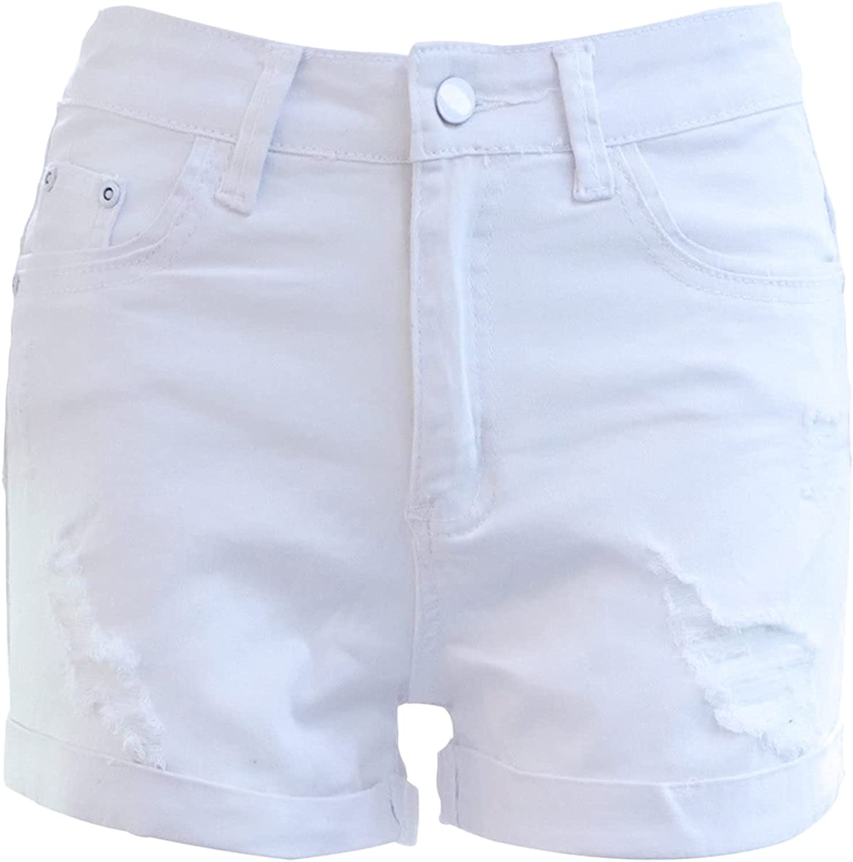 Women's Summer Mid Rise Ripped Jeans Shorts Frayed Raw Hem Distressed Hot Jean Short-pant Fashion Slim Denim Short
