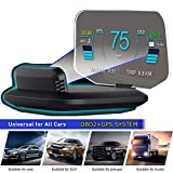YUGUANG 6' HUD Display Car OBD2, Suspended Virtual Display Head Up Display C1 HUD Display 5 Modes OBD+GPS Dual System Speedometer Mileage Diagnostic Tools, Read Data Flow Fault Alarm Fault Clearing