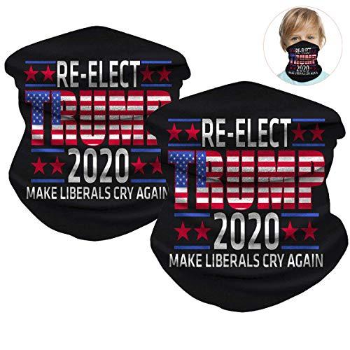 Trump 2020 - Braga para el cuello para niños, 2 máscaras multiusos para la cara, protección UV, pasamontañas, bufanda para niños y niñas (color negro)