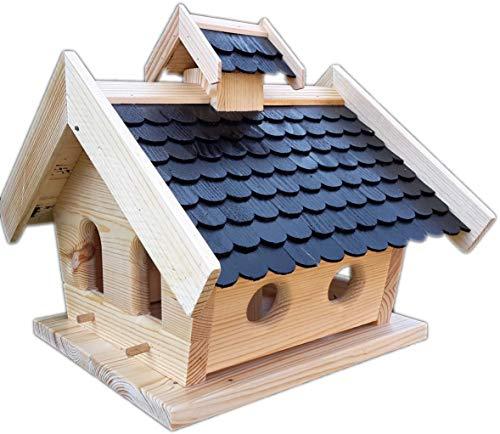 Vogelhaus-XXL mit Holzschindeln und Putzklappe lasiert Vogelhäuser-Vogelfutterhaus großes Vogelhäuschen-aus Holz Wetterschutz (Schwarz)